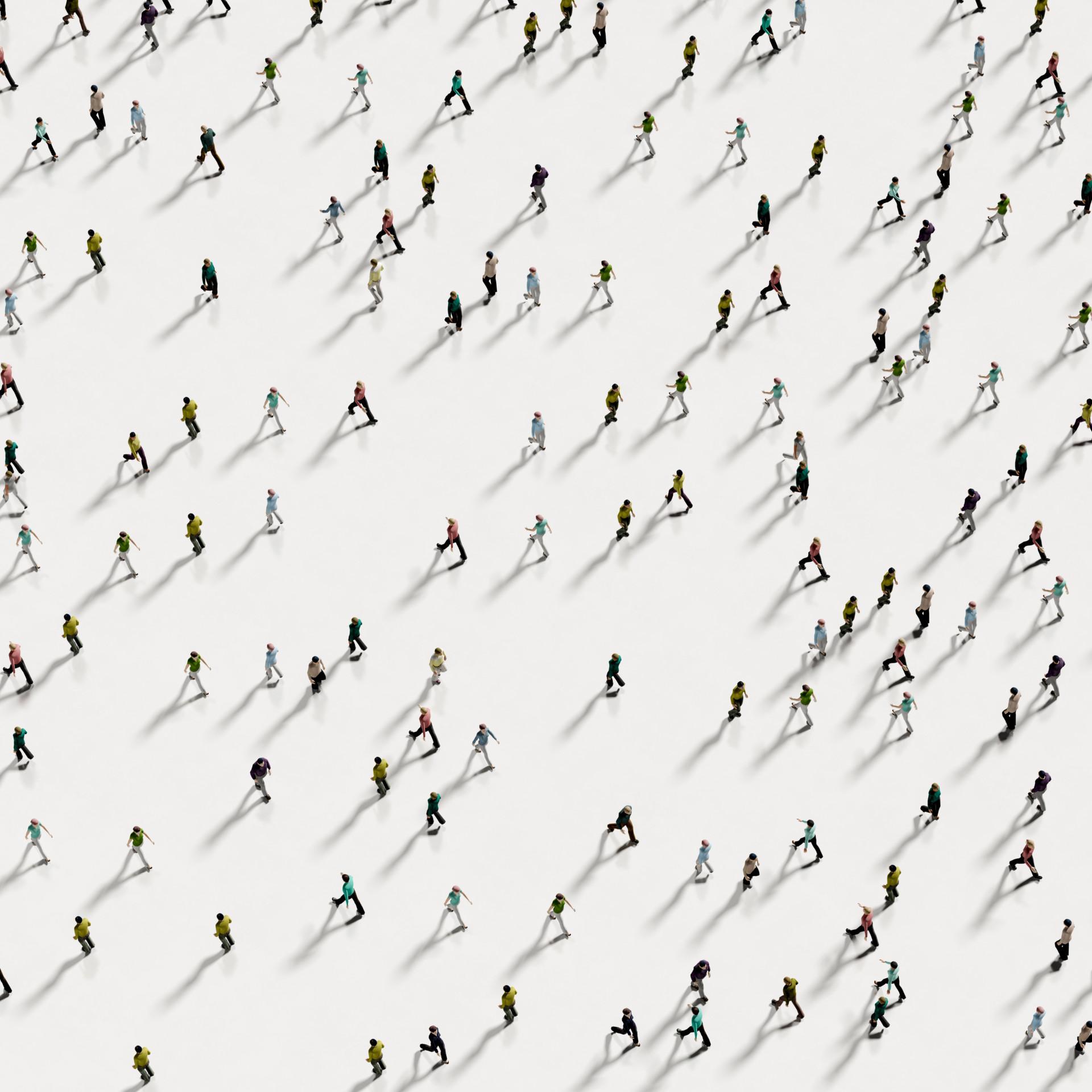 Menschen aus der Vogelperspektive