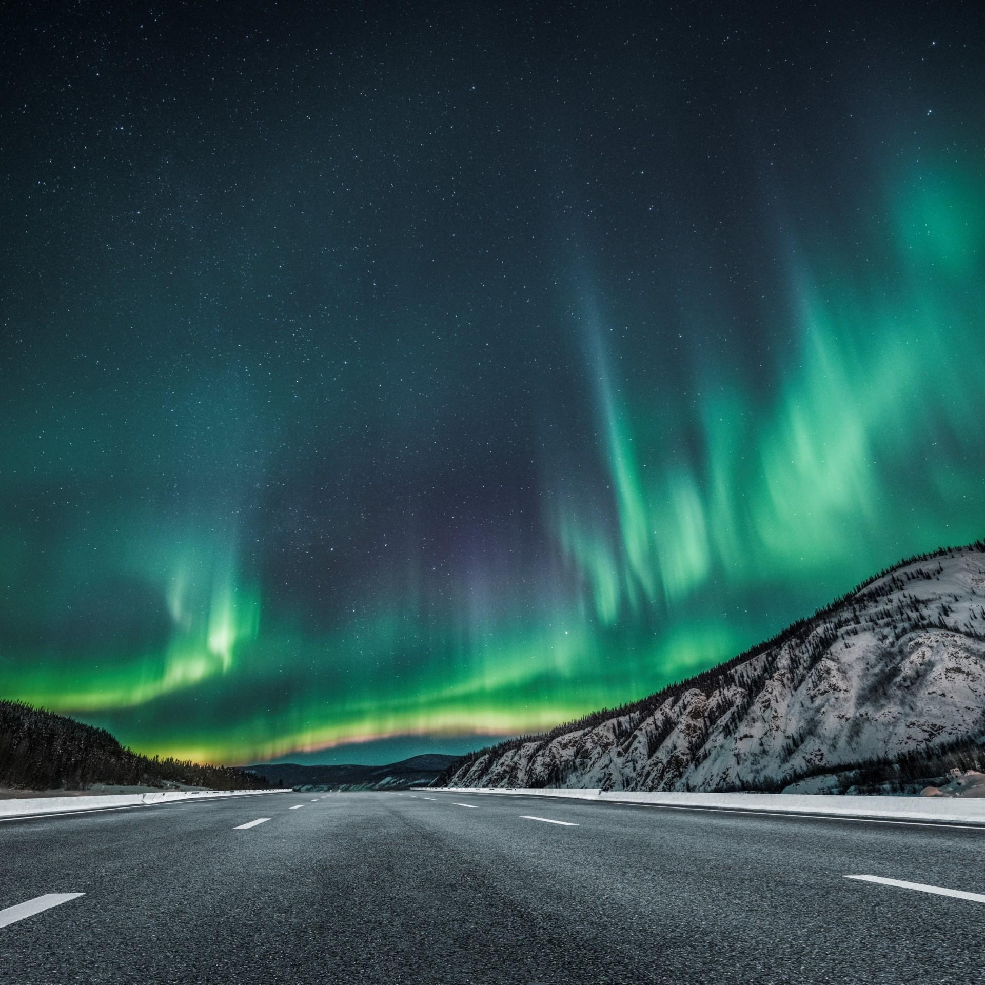 Polarlichter über einer leeren Straße