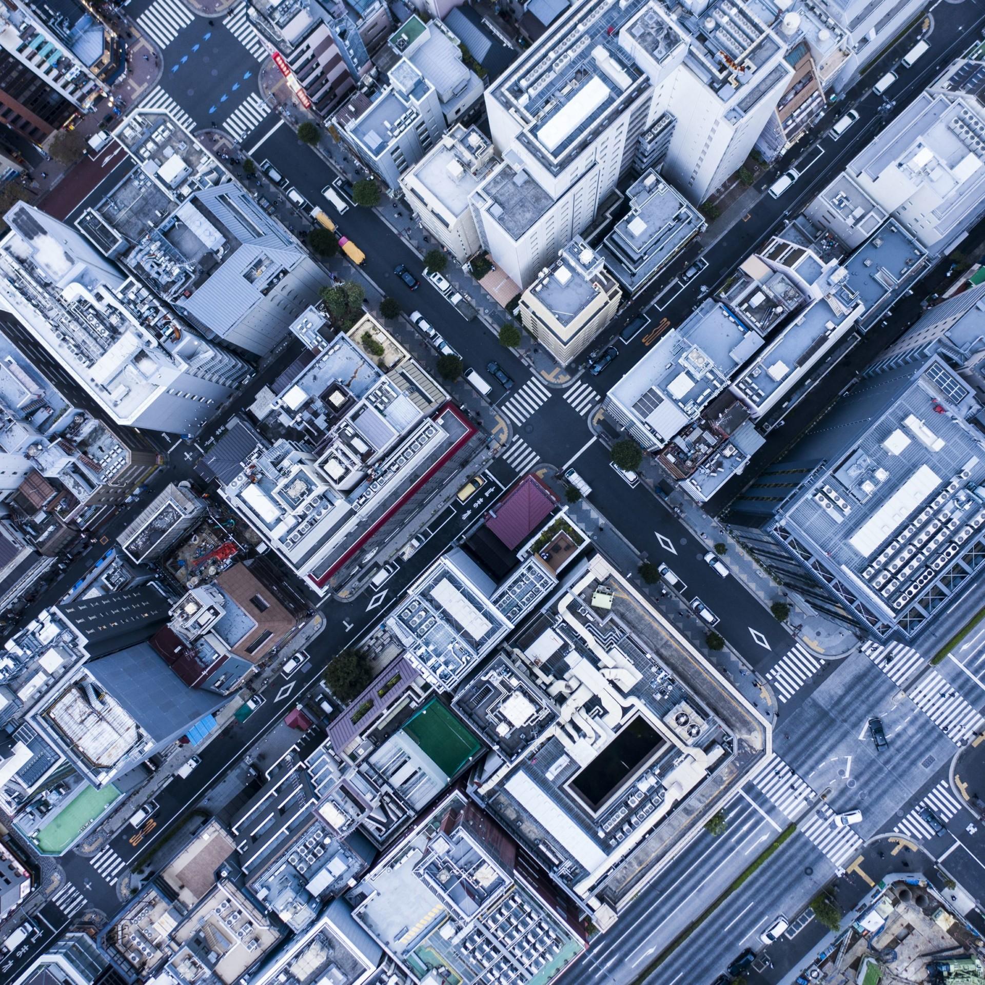 Hochhäuser aus der Vogelperspektive